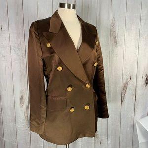 Escada Brown Bronze Silk Blend Blazer Size 36